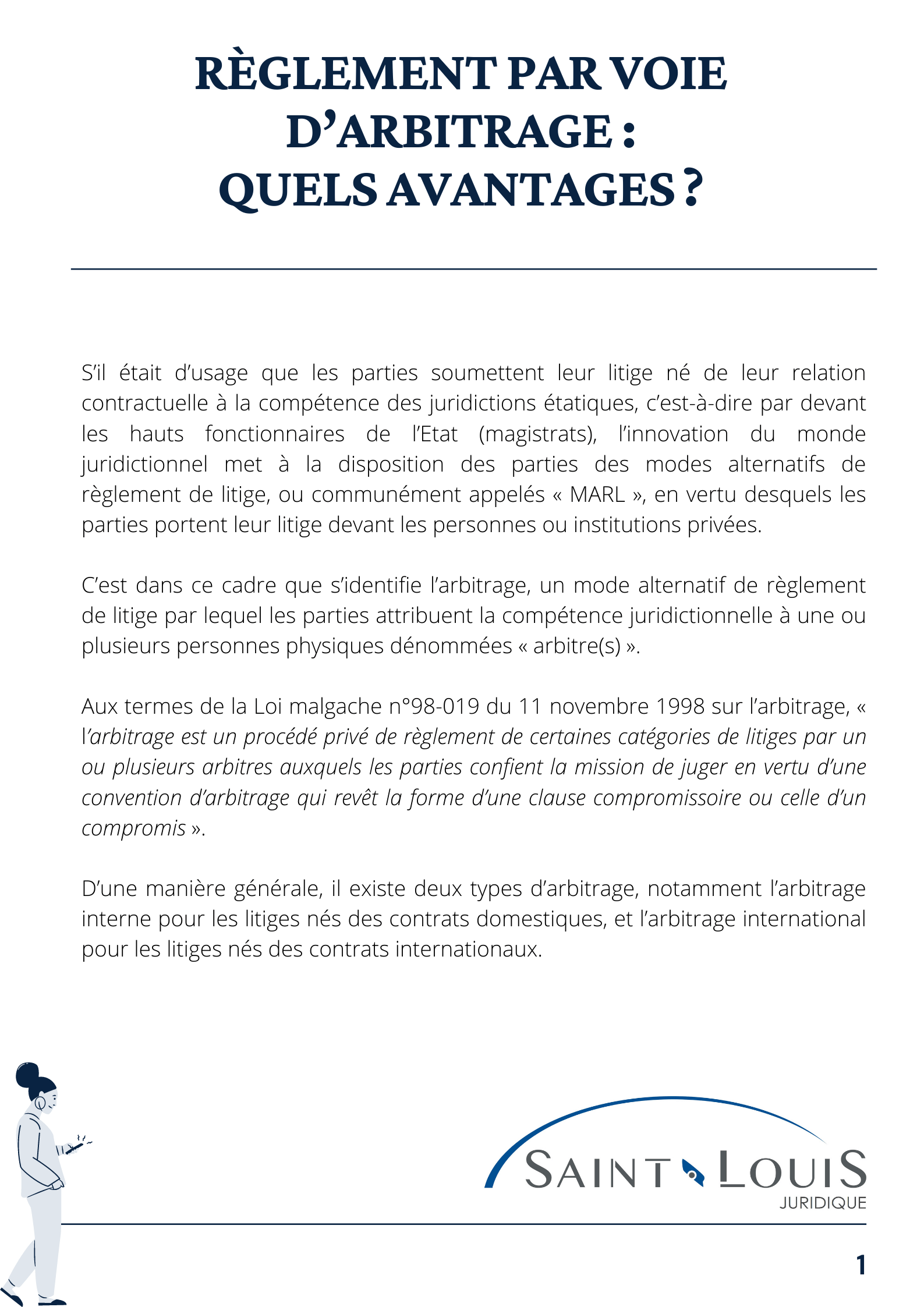 Règlement par voie d'arbitrage page 1