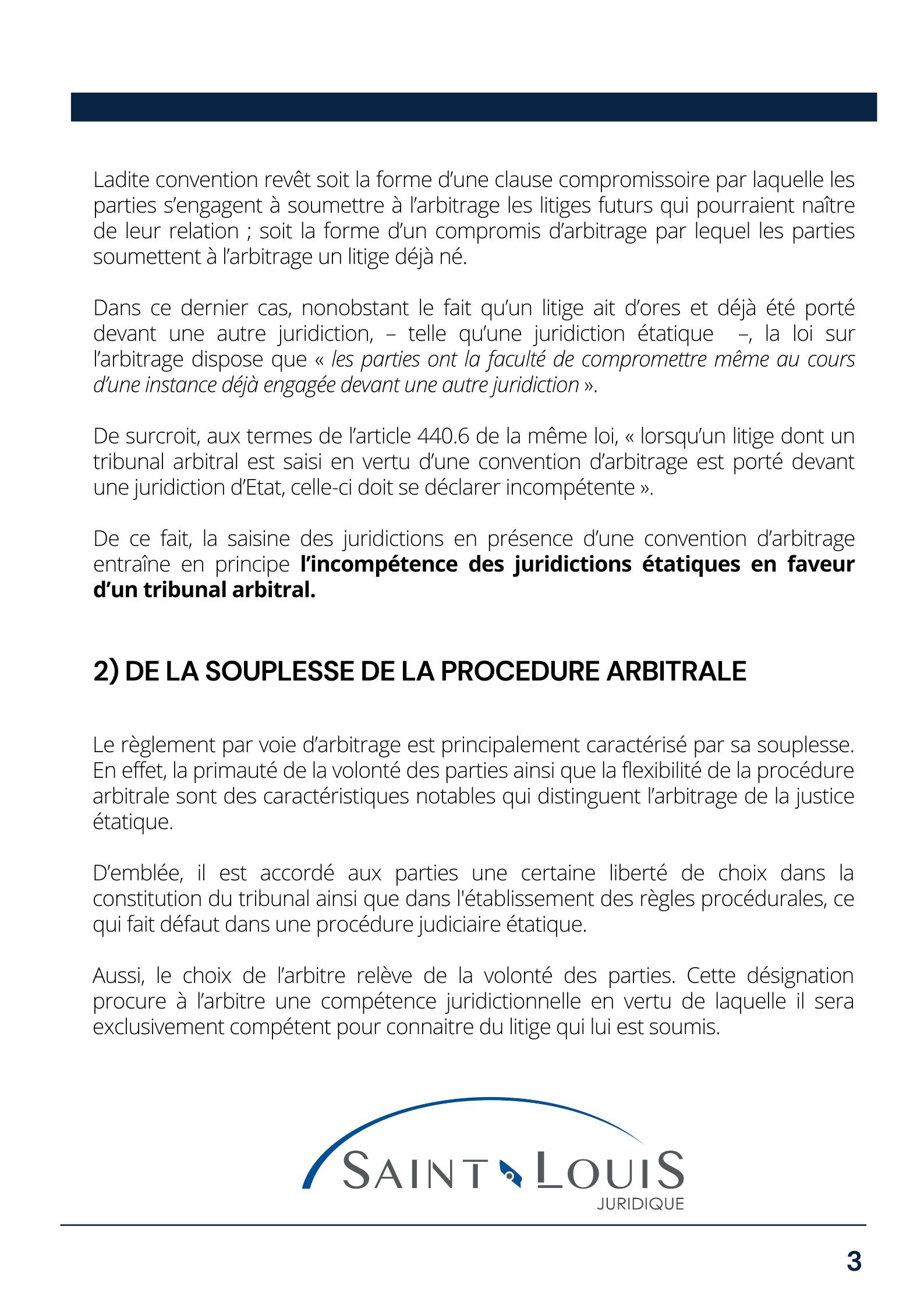 Règlement par voie d'arbitrage page 3